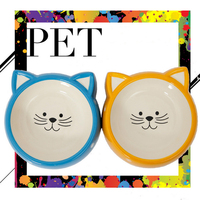 Pet Cats Water Bowls Cartoon Ceramics Bowls For Dogs Travel Camping Drill Food Water Feeder Plate Dishes Sell Well