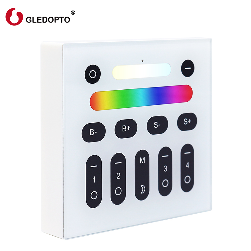 Gledopto 2.4G RGB+CCT Wireless RF touch Remote 4 Zone LED Wall Switch Panel for led bulbs dimmer for LED spotlight controller  Gledopto 2.4G RGB+CCT Wireless RF touch Remote 4 Zone LED Wall Switch Panel for led bulbs dimmer for LED spotlight controller
