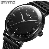 GIMTO Men Watches Top Brand Luxury Waterproof Ultra Thin Date Clock Male Steel Strap Casual Quartz