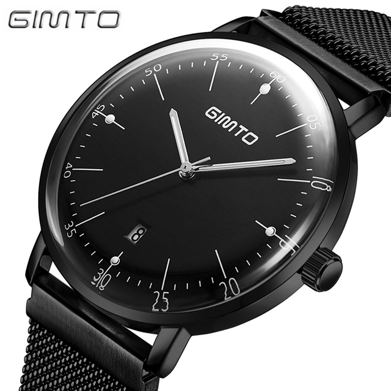 GIMTO Men Watches Top Brand Luxury Waterproof Ultra Thin Date Clock Male Steel Strap Casual Quartz Watch Men Sports Wrist Watch top brand luxury watches men quartz date ultra thin clock male waterproof sports watch gold casual wrist watch relogio masculino