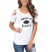 """Cute """"Powered by Plants"""" blouse / girlie"""