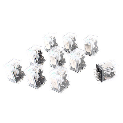ff7afe1bf69afa 10 Pcs HH54PL DC 12V Coil 4PDT Green LED Light General Purpose Power Relay  Free Shipping