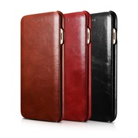 Luxury ICARER Curved Edge Vintage Series Genuine Leather Case For IPhone 7 7Plus Pure Hand Made