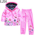 New 2017 Spring Girls Clothing Sets (Hoodie Jacket +Pants)Kids Girls Clothes Set Boys Raincoat Suit 2-6 Years Children Clothing