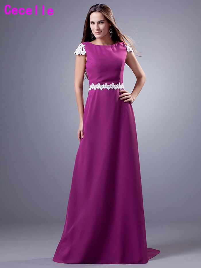 2019 Real Simple Long Modest   Bridesmaid     Dresses   With Cap Sleeves A-line Chiffon Country Women Formal Wedding   Bridesmaid   Robes