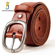 FAJARINA Unisex Quality Retro 38mm Width Belt Genuine Leather Women Black Clasp Buckle Belts for Men Styles Jeans N17FJ301