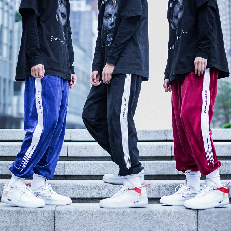 Couple Second Generation Embroidery Velvet Brush Trousers Sports Pants Men's Trousers Tide Brand Trousers Tide Pants