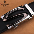 2017 New Manbang Brand Men Leather belts Designer Silver Buckle Fashion Waist belt Black MBP0253A