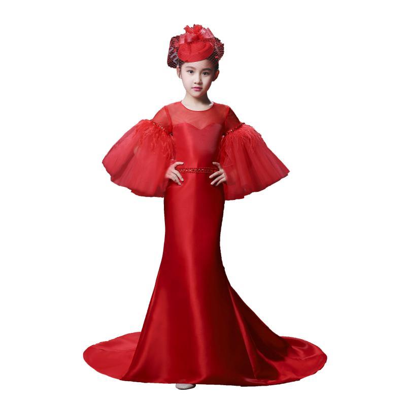 2018 Nieuwe Koninklijke Bloem Meisje Jurken Flare Mouwen Gown Kids Wedding Party Jurken Luxe Rode Prinses Gown Kinderen Formele Kostuum - 5