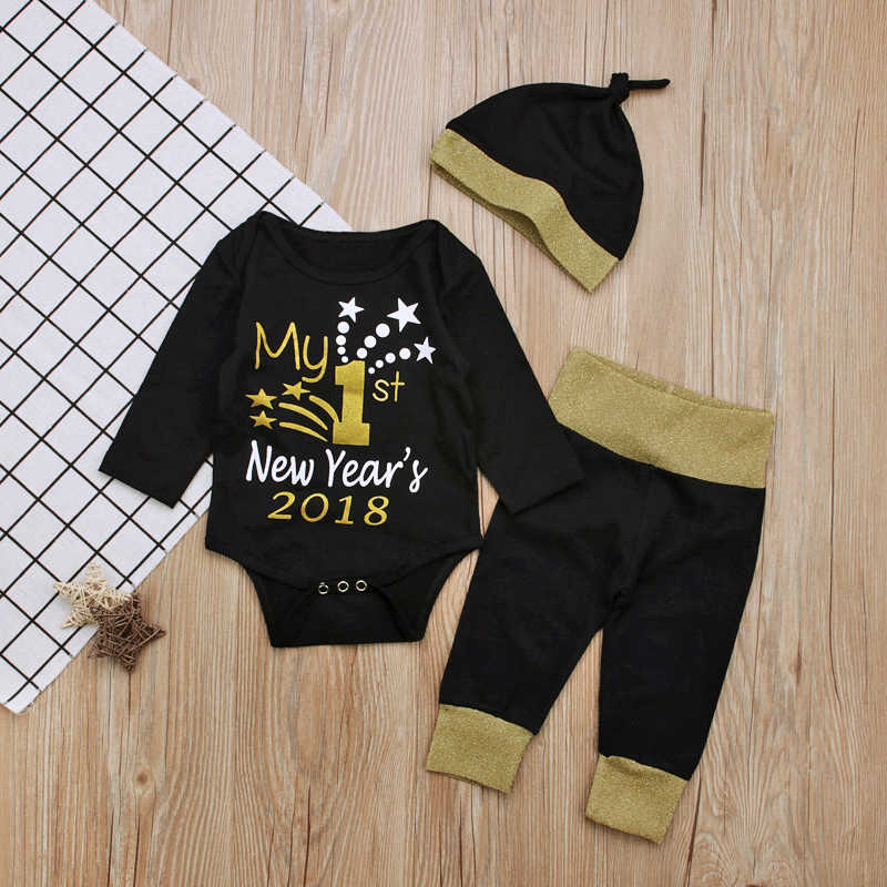 9a1df4524fe25 2018 My First New Years 3Pcs Sets Newborn Baby Girl Boys Clothes Letter  Rompers+Pants