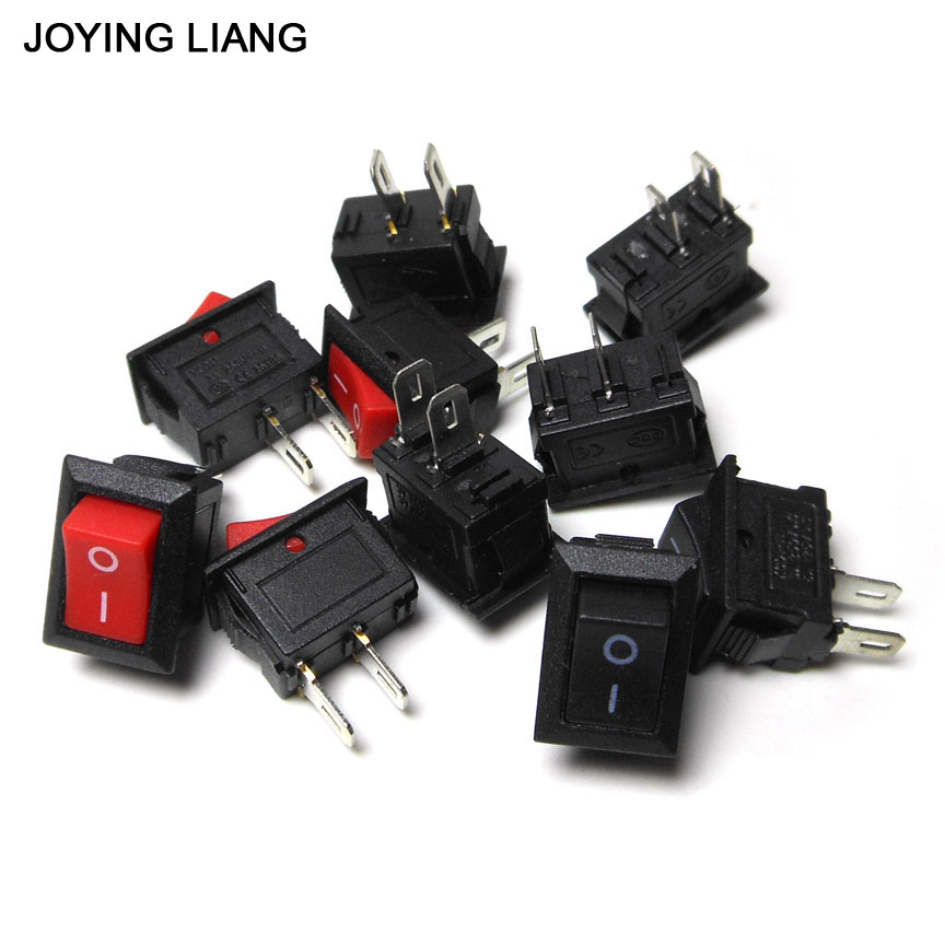 JOYING LIANG 10*15mm KCD1-101 117S 250V AC/ 3A Rocker Switch Two-feet Black / Red / White Small Switches 15 21 kcd1 101 type bending foot switch two feet and two power switch