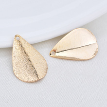 (33648)12PCS 20*13MM 24K Gold Color Brass Frosted Drop Shape Charms High Quality Diy Jewelry Findings Accessories