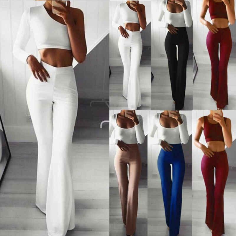 Mujer Solido Alto Cintura Llamarada Pierna Ancha Pantalones Dama Bell Fondo Pantalones De Yoga 2021 Pantalones De Yoga Aliexpress