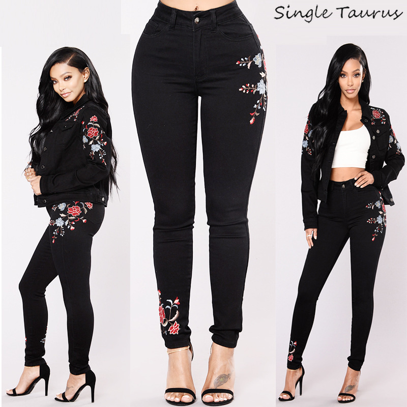 High Elasticity Skinny Embroidery Jeans for Women Fashion Casual Black Denim Pencil Pants Femme Vintage Washed Push Up Trousers