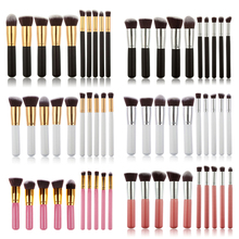Pro 10Pcs Oval Makeup Brushes Make up Foundation Blending Blush Eyeshadow Powder Eyebrow Cosmetics Brush Tool Kit Set ABH