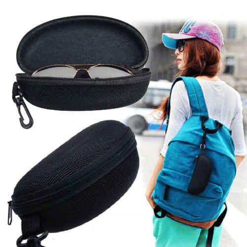 Estuche de vidrio duro con cremallera, Protector de gafas de sol, moda de viaje con Clip para cinturón