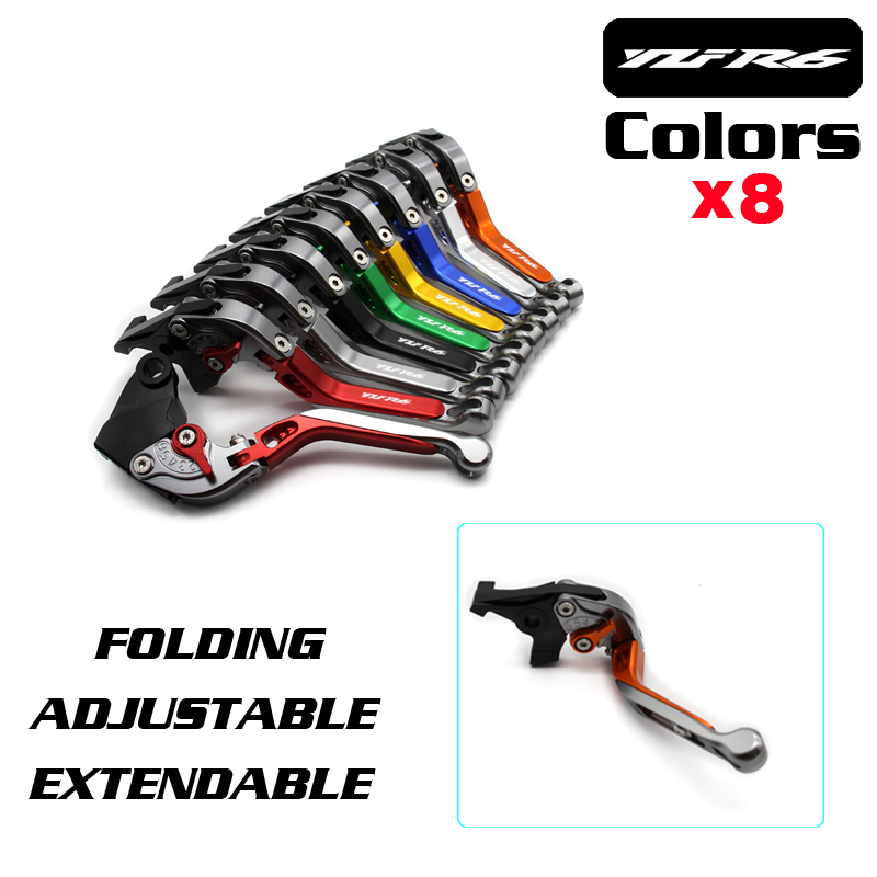 CNC Adjustable Foldable Extendable Motorbike Brakes Clutch Levers For YAMAHA R6  YZF-R6 1999 2000 2001 2002 2003 2004 6 colors cnc adjustable motorcycle brake clutch levers for yamaha yzf r6 yzfr6 1999 2004 2005 2016 2017 logo yzf r6 lever
