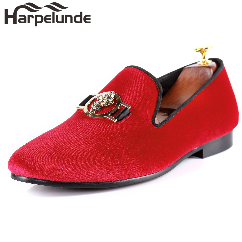 Harpelunde Men Formal Dress Shoes Sword Buckle Red Velvet Loafers Size 6-14 harpelunde animal buckle men dress loafers printed velvet flat shoes with copper cap toe size 6 to 14