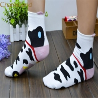 Durable Fashion Unique Women Girls 3D Animals Striped Cartoon Women Cat Footprints Cotton Socks