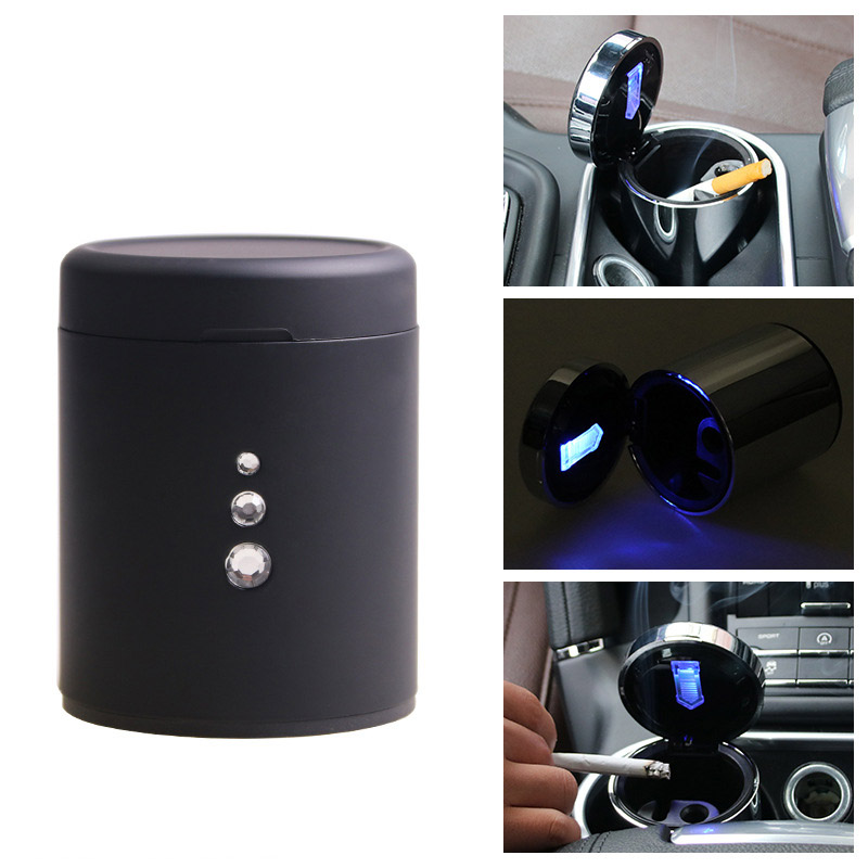 Aluminum Multifunction Car Ashtray Portable Automobile Ashtray Cigarette Ashtray Smoke Cup Holder LED lamp Mounted Ashtray