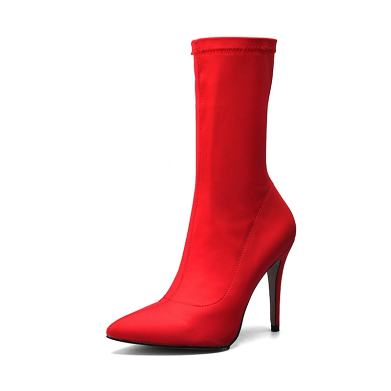 Womens Sock Fit Lycra Stretch High Heel Stiletto Pointed Toe Ankle Boots Shoes
