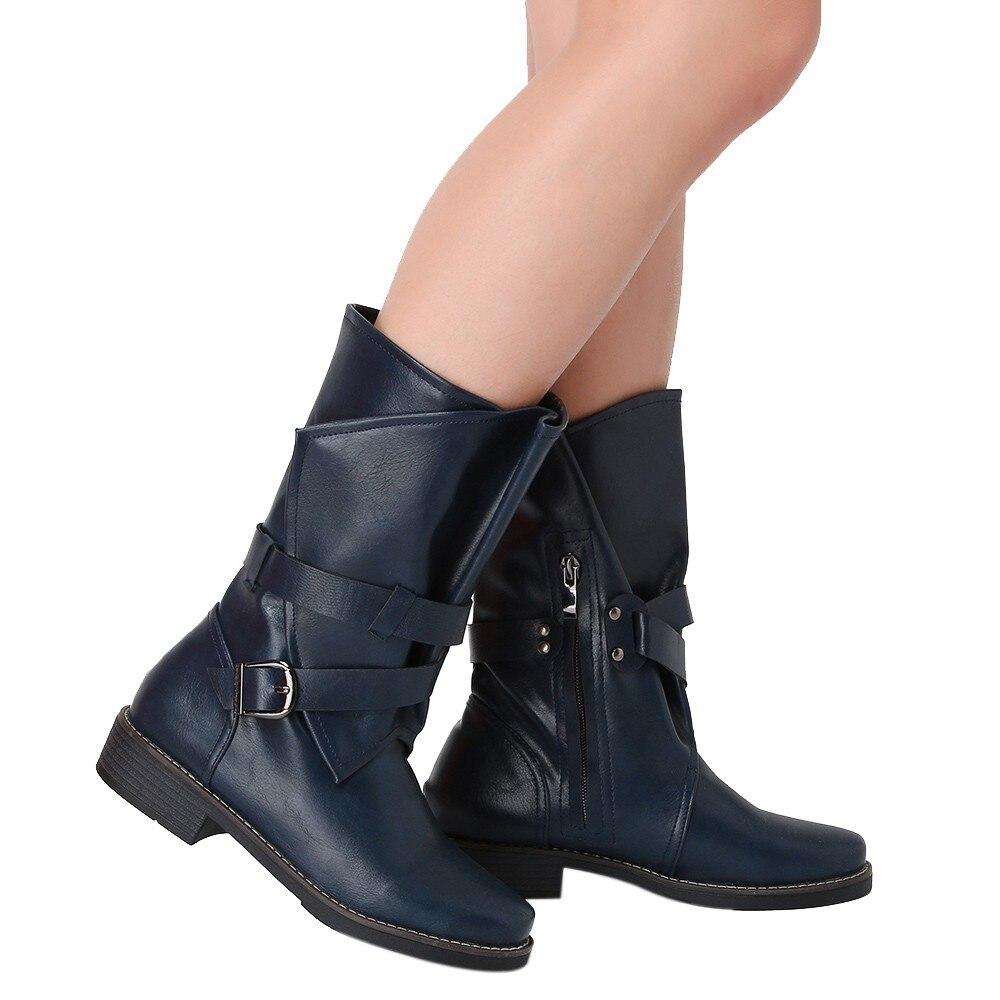 Bottines En Femme Militaire gray D'hiver 2018 Moyen Bottes Boucle Artificielle Mode Blue Cuir Chaussures Patchwork Nouveau Solide Femmes khaki OIq07Ow
