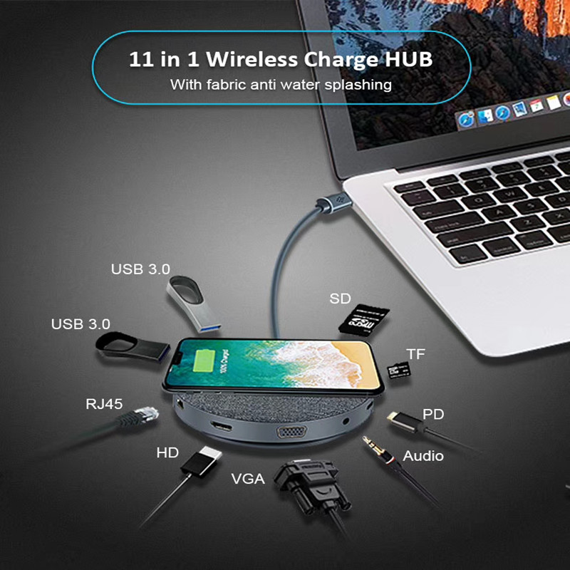 Docking-Station Laptop HDMI Wireless 11-In-1 DVI Gigabit Universal Dual-Video And Aluminum-Alloy