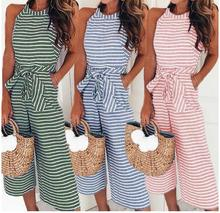 Elegant Sexy Jumpsuits Women Sleeveless Striped  Loose Trousers Wide Leg Pants Rompers Holiday Belted Leotard Overalls