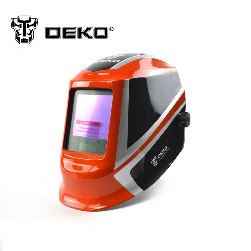 DEKOPRO Orange Solar auto darkening MIG MMA electric welding mask/helmet/welder cap/welding lens for welding machine fire flames auto darkening solar powered welder stepless adjust mask skull lens for welding helmet tools machine free shipping