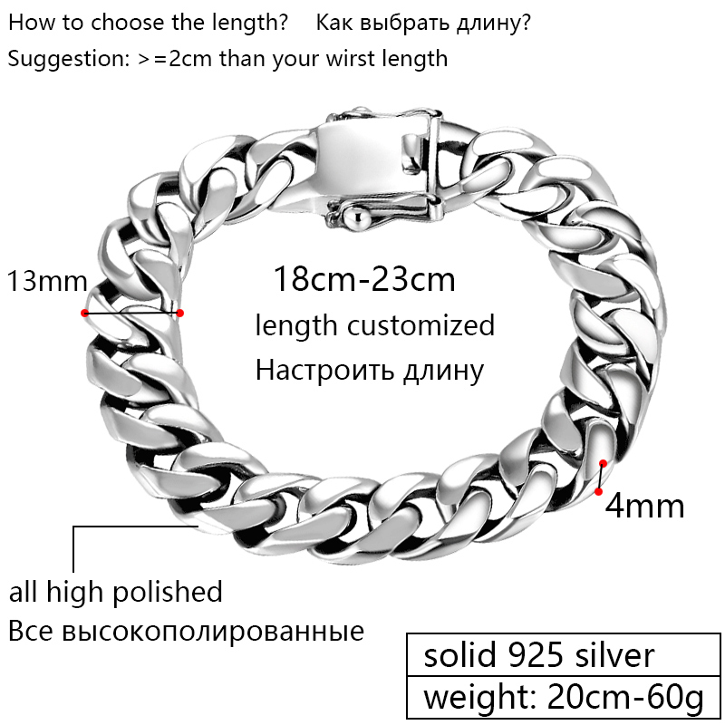 ZABRA Luxury 925 Sterling Silver Armband Man High Polish Curb Link - Märkessmycken - Foto 2