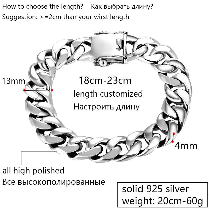 ZABRA Luxus 925 Sterling Silber Armbänder Mann Hochglanz Curb Gliederkette Armband für Männer Vintage Punk Rock Biker Herren schmuck-in Kette & Link Armbänder aus Schmuck und Accessoires bei  Gruppe 2