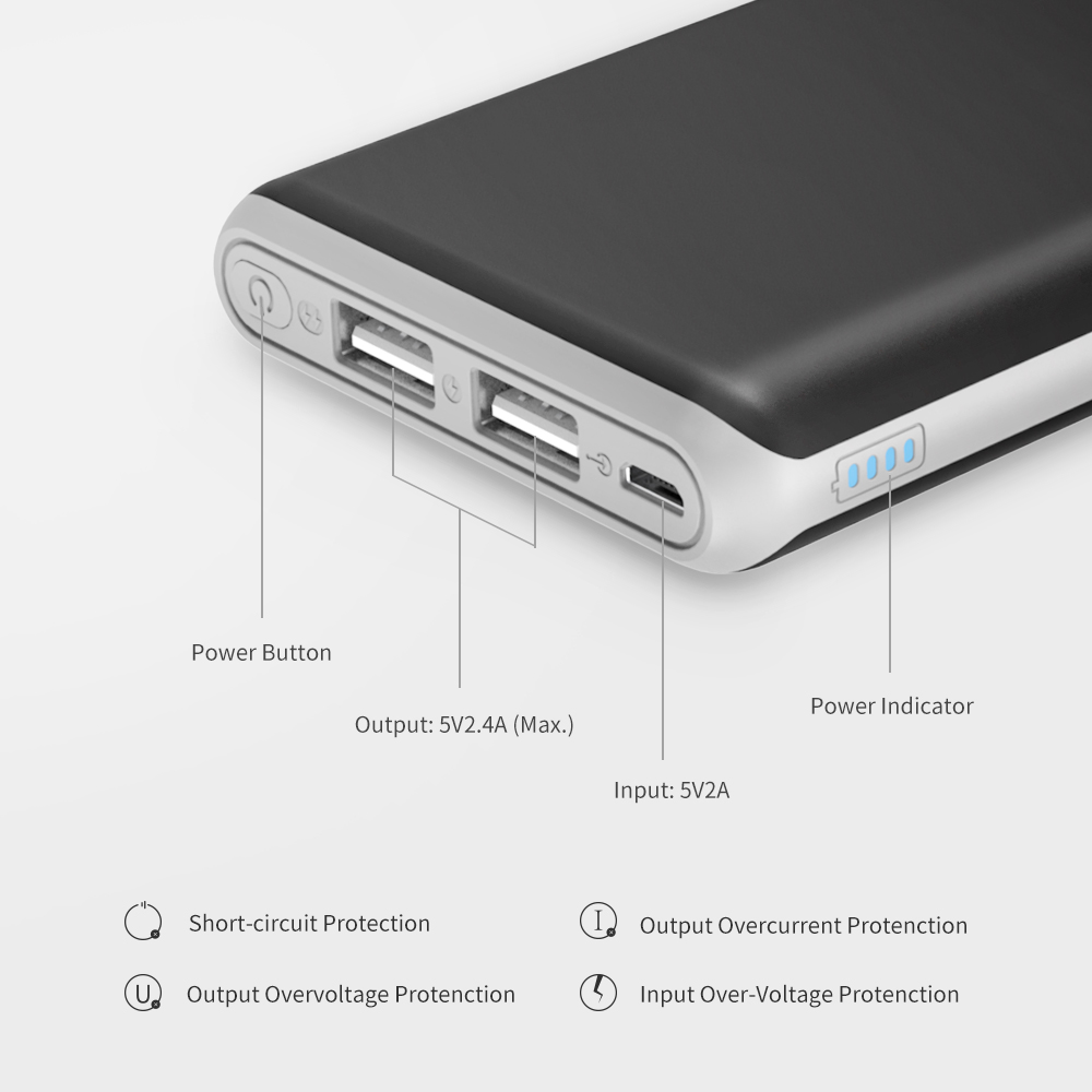ALLPOWERS Ultra Slim 10000mAh Power Bank with Dual Output Portable Charger Tech for Cell Phones xiaomi iPhone iPad Samsung in Power Bank from Cellphones Telecommunications