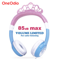 Oneodio Cute Headphone For Girls Bling Princess Crown Frozen Safety Kids Headbands Headset Earphone For Xiaomi