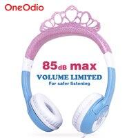 Oneodio Cute Headphone For Girls Bling Princess Crown Frozen Safety Kids Headbands Headset Earphone For Xiaomi