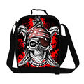 Personalized Insulated Skull Printing Lunch Bags for Adult Work,Children's Cool Shoulder Meal Bag Polyester Thermal Lunch Box