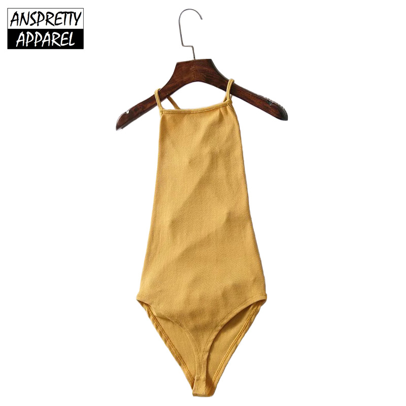 71abd1718b5 Anspretty Apparel summer sexy lace-up backless bodysuit women knitted  stretch bodycon romper ladies spaghetti