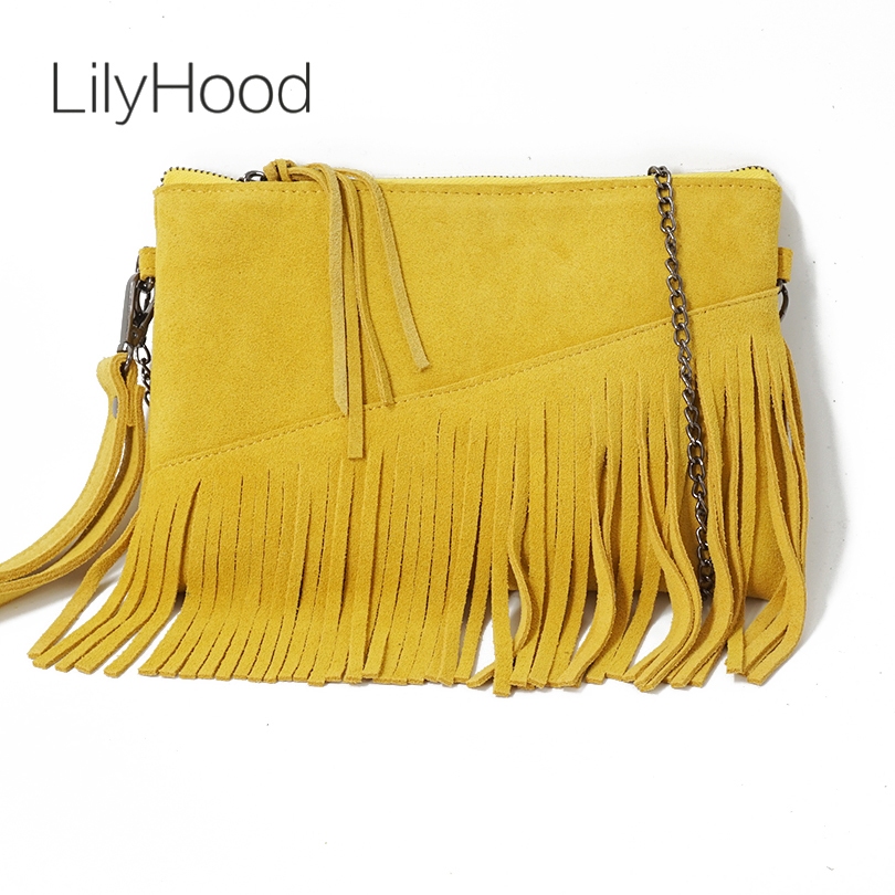 LilyHood 2018 Genuine Leather Shoulder Bag For Women Fashion Feminine Summer Small Suede Tassel Fringe Chain Yellow Hand Bag