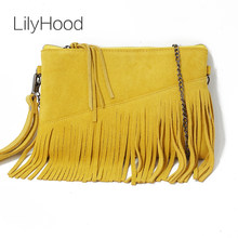 LilyHood 2018 Genuine Leather Shoulder Bag For Women Fashion Feminine Summer Small Suede Tassel Fringe Chain Yellow Hand Bag(China)