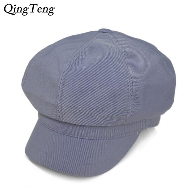Spring Autumn Fashion Sky Blue Newsboy Hat Casual Women Octagonal Cap Solid  Color Pumpkin Hat Vintage ff965c8e6b