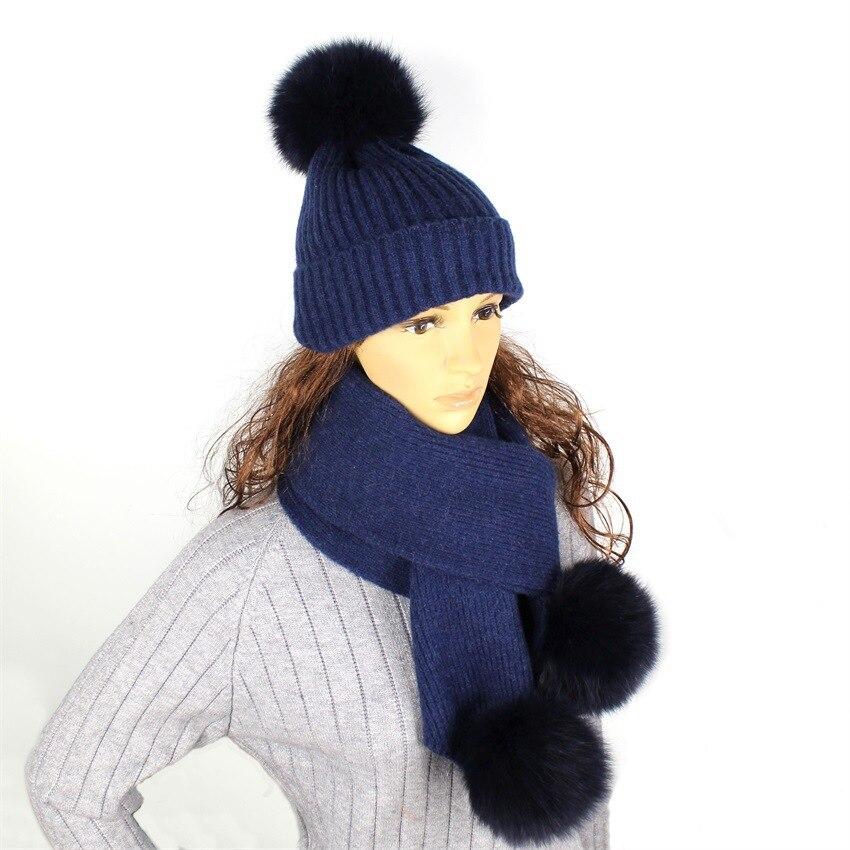 Lady Blinger Real Fox Fur Pom Pom Beanie And Wool Knitted Fur Scarf Hat Scarf Set Warm Winter Adult Kid Fur Beanie Fur Scarf