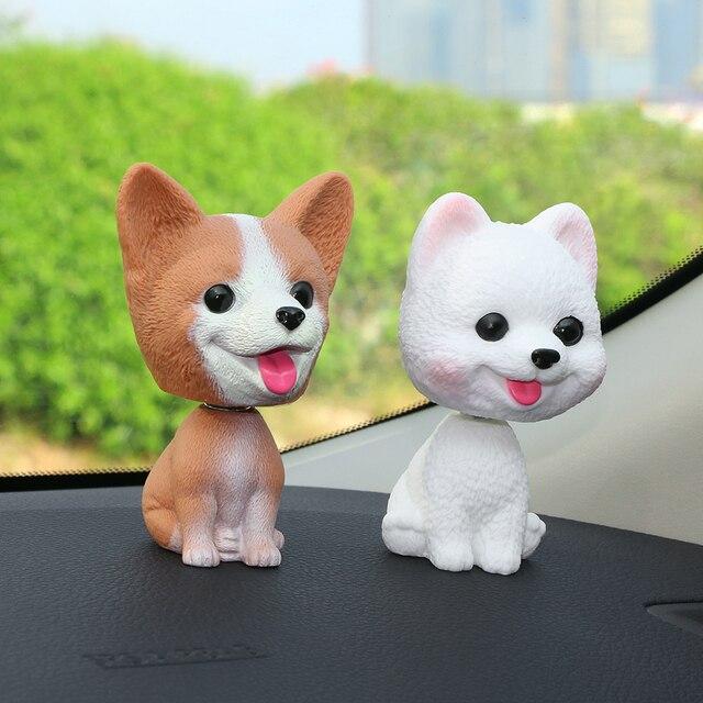 Car Decoration Emulational Teddy Dog Cartoon Shaking Head Doll Adornment Toy Auto  Interior Dashboard Ornament Accessory Gifts