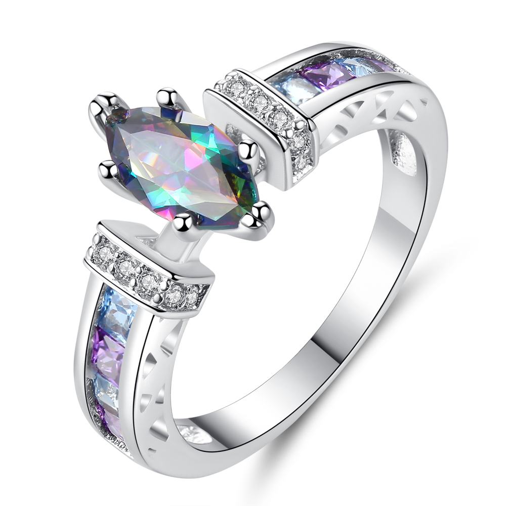 Cinily Stone Jewelry Zircon Ring-Size Wedding-Gift Silver-Plated Multicolor Women