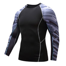 Fashion brand men tights and cool fashion tide dry flower arm movement speed workout clothes long sleeve big yards