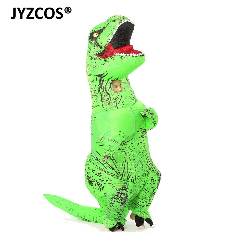 JYZCOS T-REX Inflatable dinosaur costume for adults Halloween costume Fan Operated disfraces jumpsuit Fancy Dress Outfit Suit