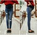 Roupas de varejo Para Mulheres Grávidas Prop Calças Barriga Buraco Maternidade jeans Skinny Calças de Algodão Lápis Calças Jeans 0192