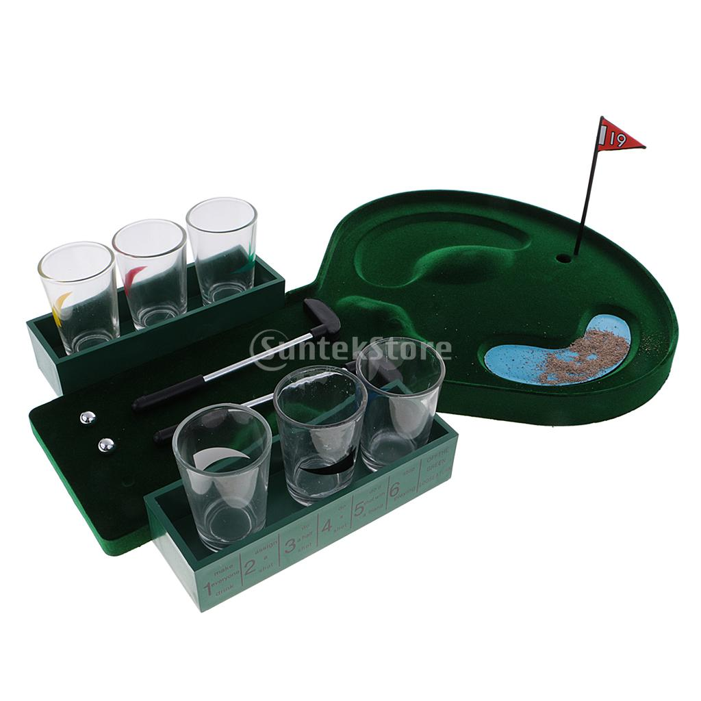 Mini Table Golf Drinking Game Set with Shot Glasses 2 Putters 2 Balls Adults Party Suppl ...