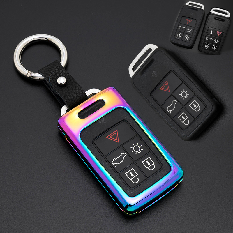 1Set Car-Styling Accessories For Volvo XC60 S60l V40 V60 S60 Zinc Alloy+Leather Key Case for Car Covers Romote Key Shell Bag Hol