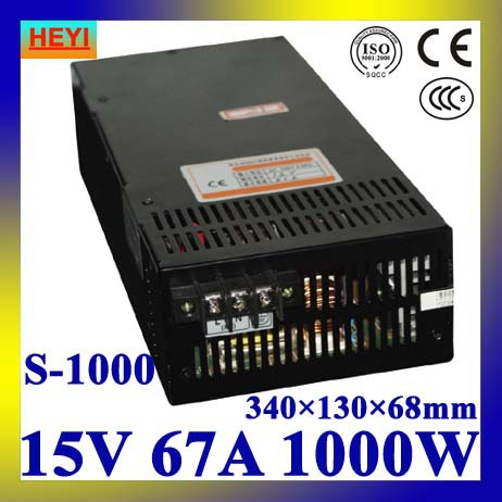 LED power supply 15V 67A 100~120V/200~240V AC input single output switching power supply 1000W transformer 15V