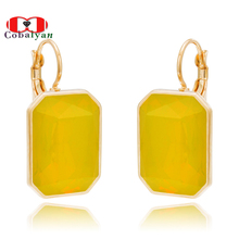 Здесь можно купить  Chriatmas Gift,2015 Hottest Rose Gold Plated Yellow Austrian Opal Crystal Rectangle Style Jewelry Drop Long Earrings for Women