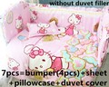 Promotion! 6/7PCS Hello Kitty Baby Bedding Set Crib Sets cot bumper+fitted Bed Cover Baby Cot Bedding Sets , 120*60/120*70cm